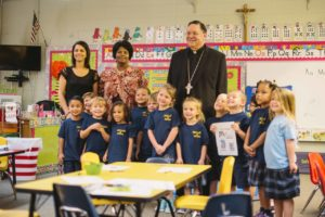 Bishop Kihneman with OLF Elementary PK4 class