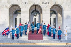 GCCA 2018 flag bearers at City Hall.