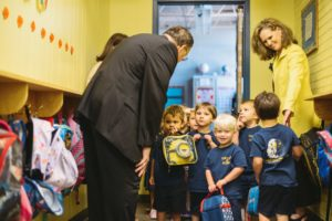 Bishop Kihneman tours Our Lady of Fatima Elementary with Dr. Clark