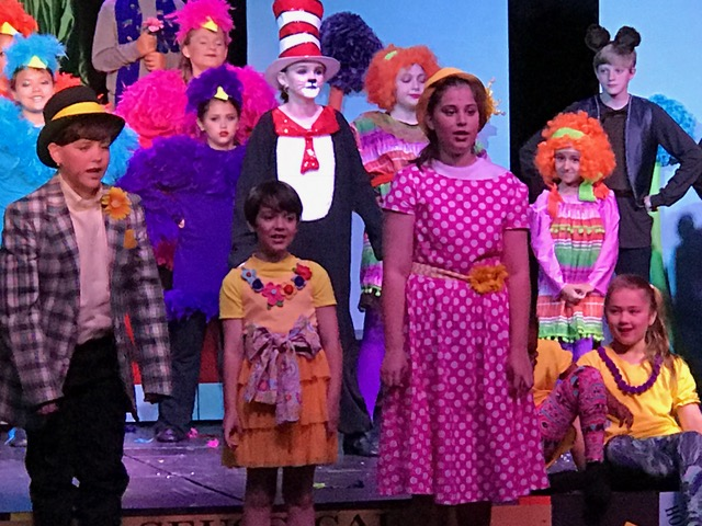 Caden DeMers, Sam Mandal, Isabella Cruthirds perform in Seussical