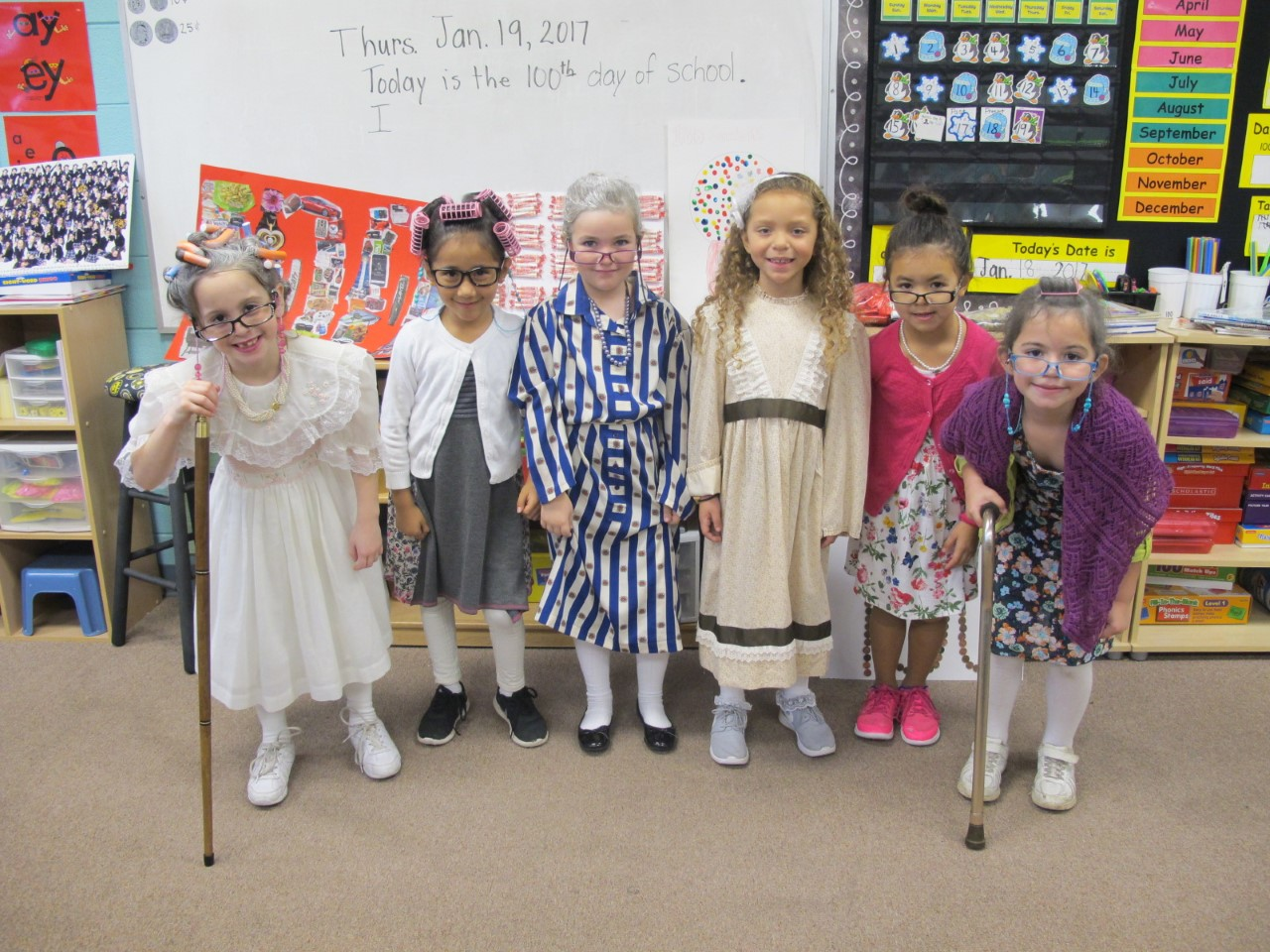 1st Grade Celebrates with dressing up as 100 year-old person