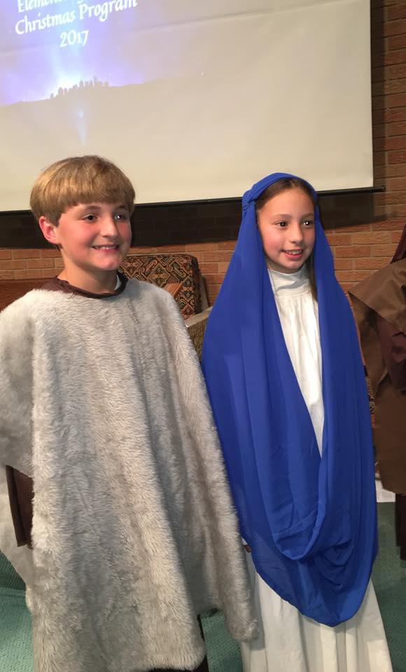 Jake Schaar as Joseph and Taylor Jernigan as Mary in the OLF Christmas program.