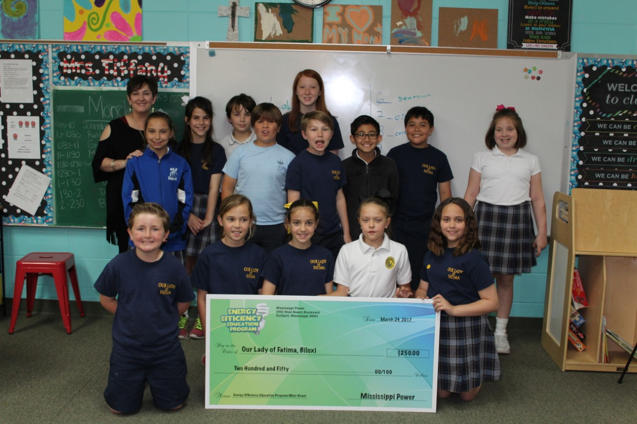 OLF was inducted into the $1000 club (Energy Efficiency Ed. Program) for receiving $1000 in grants.  Ms. Deroche's 4th grade class received a $250 grant from the program.
