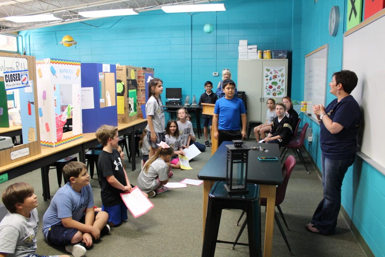 4th Grade Teacher Rachel Derouche instructs her class on building a Classroom City