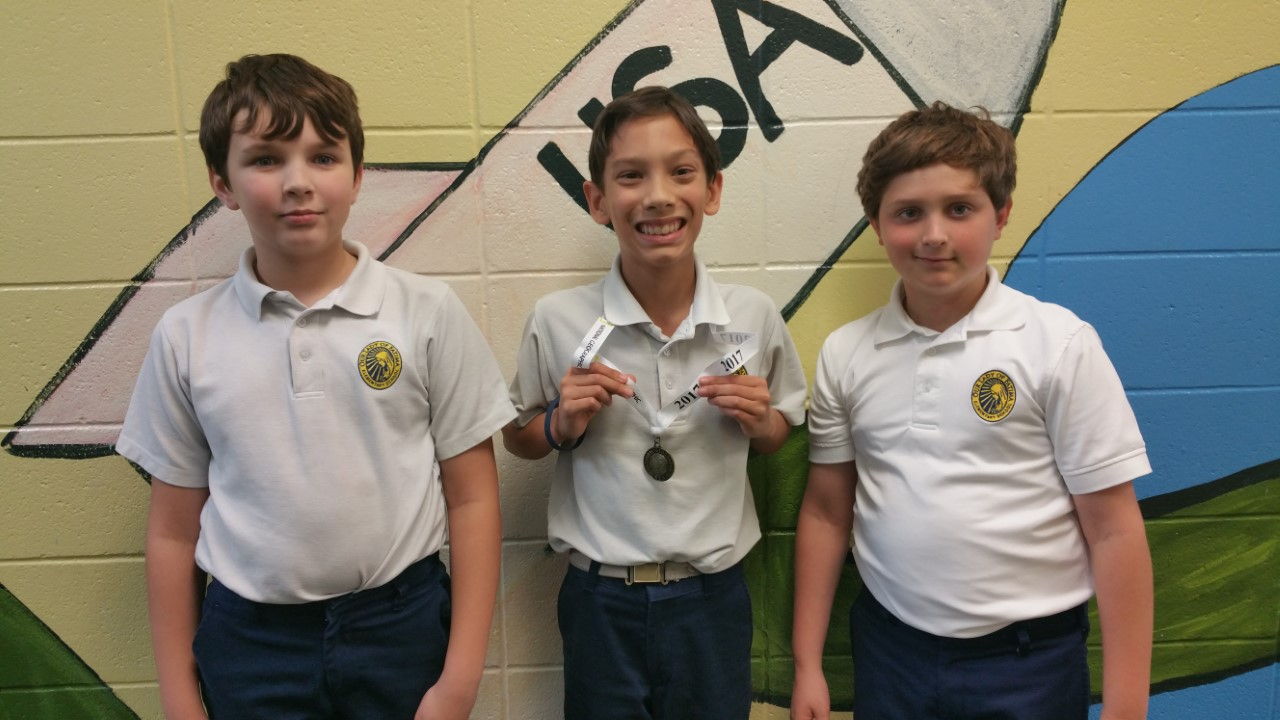 Geography bee winners:  British Boles (4th grade - 3rd Place), Shane Dohrer (6th grade - 1st Place), Brodie Mandal (5th grade - 2nd Place)