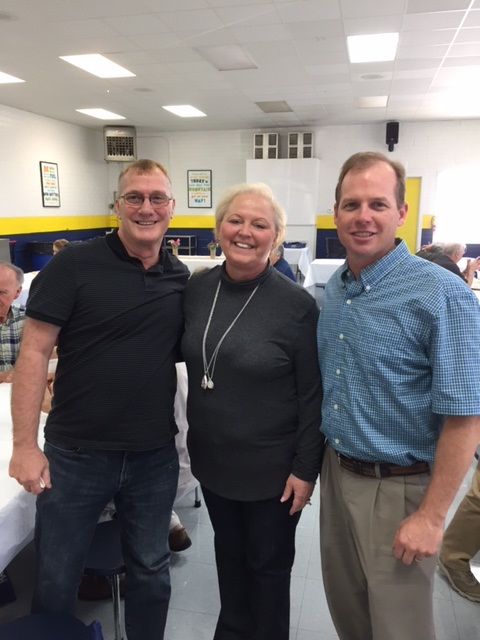 Tim Walter, Principal Cindy Hahn, Greg Schruff enjoy the Volunteer Luncheon